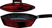 сковороду с крышкой — Cтоковый вектор