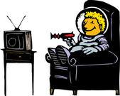 Boy in Spacesuit Watching TV — Stock Vector