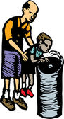 Woodcut Illustration of Man Helping Boy Get Water at Drinking Fountain — Stock Vector