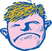 Drzeworyt ilustracja chłopca grymasy — Wektor stockowy