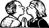 Ilustração em xilogravura de sênior casal a beijar — Vetorial Stock