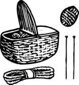 編み物の木版画図 — ストックベクタ