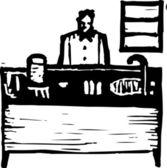 Woodcut illustration of Lab — Stock Vector