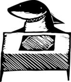 Woodcut illustration of Lawyer — Stock Vector
