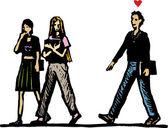 Woodcut Illustration of Teen Boy in Love Following Girls — Stock Vector