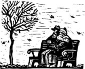 Woodcut Illustration of Senior Couple Sitting on Bench on Cold Day — Stock Vector