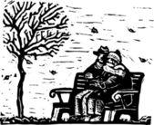 Ilustração em xilogravura de sênior casal sentado no banco em dia frio — Vetorial Stock