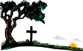Woodcut Illustration of Cemetary Plot with Cross and Rising Sun — Vetorial Stock