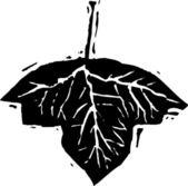 Ilustración de xilografía de hoja — Vector de stock