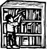 图书馆的木刻插图 — 图库矢量图片