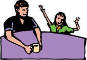 Träsnitt illustration av pappa lyssna på dotter prata — Stockvektor