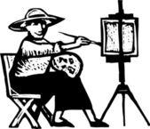 Ilustração em xilogravura de pintura de arte — Vetorial Stock