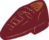 Holzschnitt-abbildung-symbol des schuhs — Stockvektor