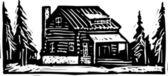 Woodcut Illustration of Lodge — Stock Vector