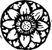 Ilustração em xilogravura de flor de lótus — Vetor de Stock
