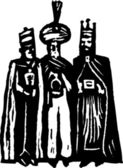 Woodcut Illustration of Magi or Three Wise Men — Stock Vector