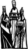 Woodcut Illustration of Three Wise Men — Stock Vector