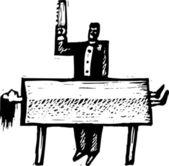 Ilustración de xilografía de mago — Vector de stock
