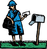 Woodcut Illustration of Postal Delivery Person Delivering Mail — Stock Vector