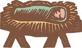 Träsnitt illustration av baby kristus i krubban — Stockvektor