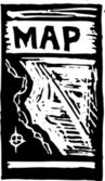 Woodcut Illustration of Map Folded — Stock Vector