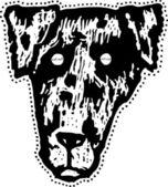 犬マスクの木版画の実例 — ストックベクタ
