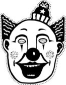 Träsnitt illustration av clown mask — Stockvektor
