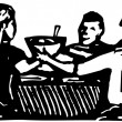 Woodcut illustration of Family Meal — Stock Vector