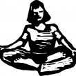 Woodcut Illustration of Meditating — Stok Vektör