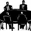 Woodcut Illustration of Business Meeting — Stock Vector