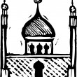 Stock Vector: Woodcut Illustration of Mosque
