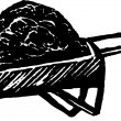 Woodcut Illustration of Wheelbarrow of Mulch — Stock Vector