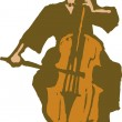 Woodcut Illustration of Woman Playing Cello — Stock Vector #29889523