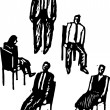 Woodcut Illustration of Office Workers Playing Musical Chairs — Stock Vector