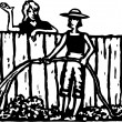 Woodcut Illustration of Women Neighbors Talking Over Fence — Stock Vector
