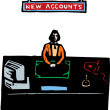 Woodcut illustration of New Accounts — Stock Vector