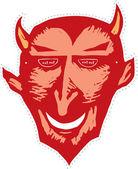 Drzeworyt ilustracja maska diabła — Wektor stockowy