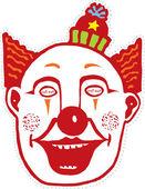 Woodcut Illustration of Clown Mask — Stock Vector