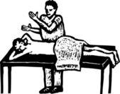 Ilustración de xilografía de masajista — Vector de stock