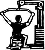 Woodcut Illustration of Exercise Machine — Stock Vector