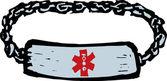 Woodcut Illustration of Medical Alert Bracelet — Stock Vector