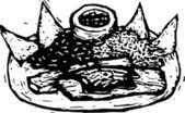 ксилография иллюстрация мексиканской кухни — Cтоковый вектор