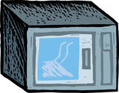 Woodcut Illustration of Microwave Oven — Stok Vektör