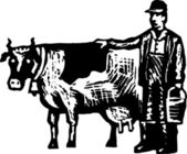 Woodcut Illustration of Farmer with Milking Cow and Milk Bucket — Stock Vector