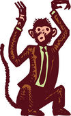 Woodcut Illustration of Monkey Business — Vettoriale Stock