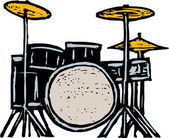 Woodcut Illustration of Drum Set — Stock Vector