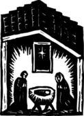 Woodcut Illustration of Nativity — Stock Vector