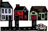 Woodcut Illustration of Neighborhood — Stock Vector