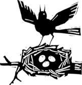 Ilustração em xilogravura de pássaro mãe com ovos no ninho — Vetor de Stock