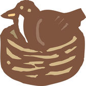 Woodcut Illustration Icon of Mother Bird in Nest — Vetor de Stock